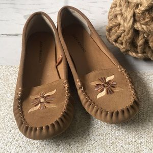 Lucky Brand Tan Embroidered Ailee 2 Moccasins Flat